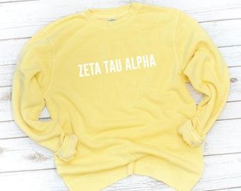 Sorority Sweatshirt, Chunky Fleece, Block, Yellow, Fleece, Washed, Garment dyed, Pigment dyed, Sorority gift, Big Little, Alpha Sigma Alpha