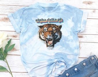 Sorority Tiger, Tie Dye Shirt, Rainbow Retro, Vintage, Alpha Xi Delta, Alpha delta pi, Kappa Alpha Theta, Recruitment, big little shirts