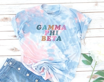 Sorority Tie Dye Shirt, Retro, Vintage, Gamma Phi Beta, Alpha Gamma Delta, Kappa Alpha Theta, Alpha Delta Pi, Recruitment, big little shirts