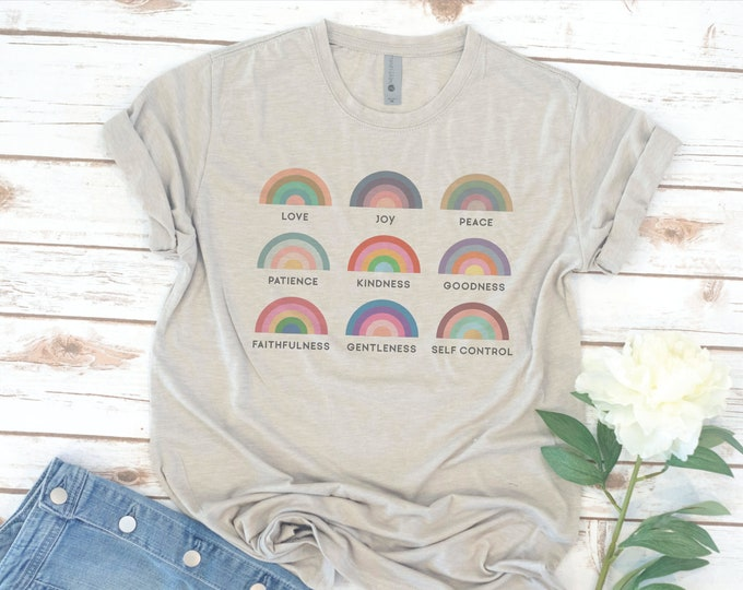 Featured listing image: Christian Tee, Fruit of the spirit, Shirt, Women's shirt, Jesus, Bible, Gift for Women, Gift for Mom, Christmas Gift, Women's Easter Shirt
