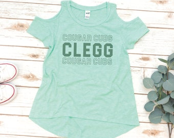 GIRLS Clegg Shirt, Cold Shoulder Tee, Cubs angle