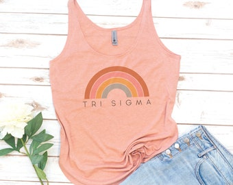 Sorority tank, Retro Sorority, Tri Sigma, Kappa Alpha Theta, Alpha Gam, Rainbow, Laurel and Olive, Alpha Delta Pi, Phi Mu, Sigma Alpha