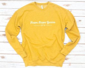 SALE Sorority Sweatshirt, Yellow, Gold, Kappa Delta, Alpha Xi Delta, Zeta Tau Alpha, Alpha Omicron Pi, Alpha Phi, Alpha Chi Omega, Gamma Phi