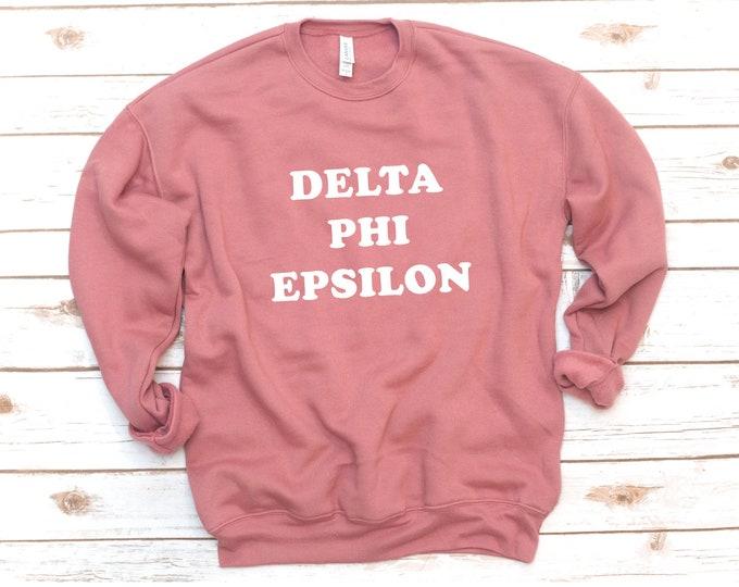 Featured listing image: Sorority Crew Fleece, Triblend Sweatshirt, Basic Fleece, Sorority gift, Sorority sweatshirt, Retro, Vintage, Sigma Alpha, Delta Phi Epsilon