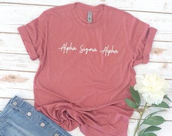 Sorority Shirts, Simple Script, Vintage, Sorority, Phi Sigma Sigma, Alpha Gamma Delta, Alpha Phi, reveal, alumnae, Zeta Tau Alpha