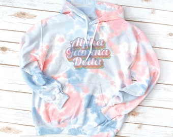 Tie Dye Sorority Hoodie Sweatshirt, Vintage, Retro, Alpha Gamma Delta, Alpha Xi Delta, Gamma Sigma Sigma, Alpha Sigma Tau, Sigma Delta Tau