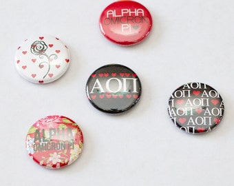 "Alpha Omicron Pi 1"" Buttons"