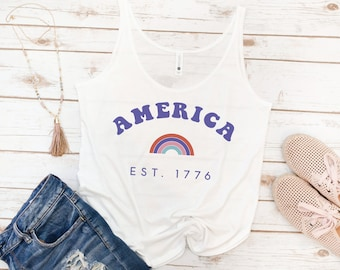 America tank, 4th of July, Memorial day, USA Tank, Women's Tank, Vintage, Red White Blue Shirt, Gift for Mom, Gift for Woman