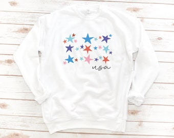 USA Fleece, 4th of July, Sweatshirt, Memorial day, America, Stars, Women's fleece, Vintage, Red White Blue, Gift for Mom, Gift for Woman