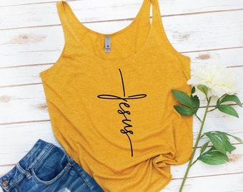 Christian Tank, Cross, Jesus, Christian, Jesus Shirt, Bible shirt, Christian gift