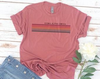 Sigma Alpha Omega, Sorority shirts, Retro Stripes, Vintage, Recruitment, big little reveal, big little shirts, Christian Sorority