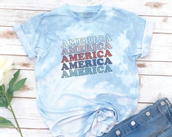 America Shirt, 4th of July, Memorial day, USA T-shirt, Women's T-Shirt, Vintage, Red White Blue Shirt, Gift for Mom, Gift for Women, Tie Dye