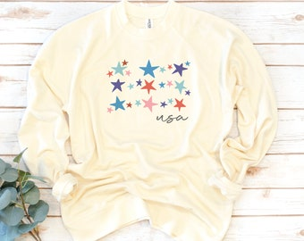 USA Sweatshirt, Stars and Stripes, Fourth of July, America, Women's Shirt, 4th of July, Memorial Day, 1776, Independence Day Shirt