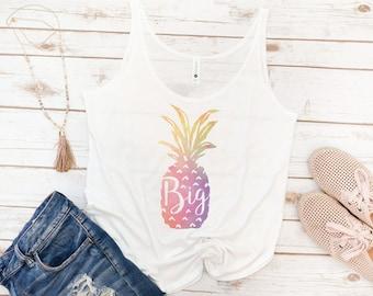 Big and Little Tank, Pineapple, Sorority, Sorority Tank, Big Sis, Little Sis, Reveal Tank, GBig, GGBig, Rainbow, Watercolor, Sorority gift