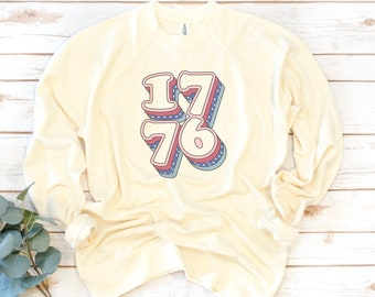 America Sweatshirt, USA Rainbow, 1776, Fourth of July, USA, Women's Shirt, 4th of July, Memorial Day, 1776, Independence Day Shirt