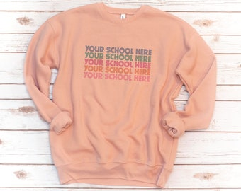 School sweatshirt, Custom School, Teacher Sweatshirt, fleece, Vintage, Retro, personalized elementary middle junior high school