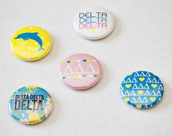 """Delta Delta Delta 1"""" Buttons"""