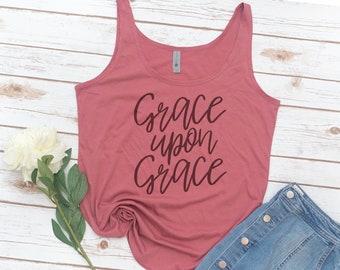 Grace Upon Grace, Saved, Jesus, Christian tank, Bible, Vintage, Retro, Bible Verse, Christian gift