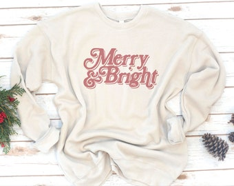 Christmas Sweatshirt, Gift for women, Christmas gift, Merry and Bright, Fleece, Gift, Retro, Vintage, Holiday, Christmas Gift,  Long sleeve