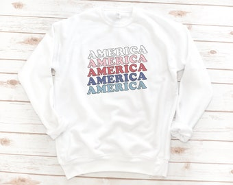 America Fleece, 4th of July, Memorial day, USA Sweatshirt, Women's fleece, Vintage, Red White Blue Shirt, Gift for Mom, Gift for Woman