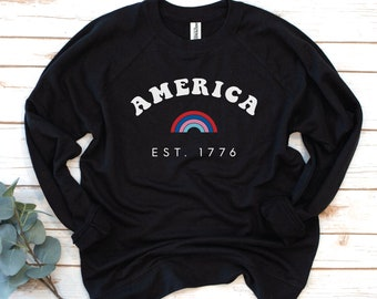 America French Terry, USA Sweatshirt, Fourth of July, America, Women's Shirt, 4th of July, Memorial Day, 1776, Independence Day Shirt