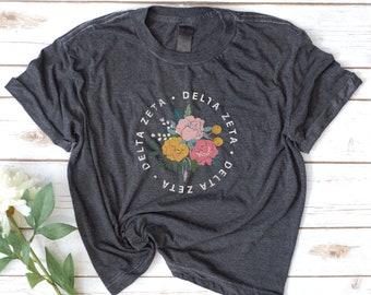 Sorority Long Crop Tee, Flowers, Vintage Retro shirt, Alpha Delta Pi, Delta Zeta, Phi Sigma Sigma, Kappa Alpha Theta, Colorful, rainbow