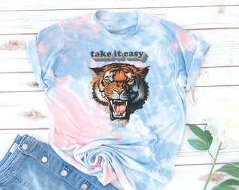 Tiger Tee, Tiger Shirt, Take it easy, Vintage, Gift for Mom, Birthday Gift, Gift for Woman, Mother's Day Gift