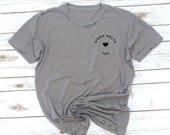 Sorority Distressed Tee, Unisex fit, Rocker tee, Holes shirt, 80s, 90s, Big Little Shirts, Sigma Delta Tau, Phi Sigma Sigma, Sigma Kappa