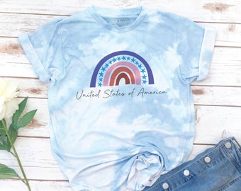 USA Rainbow Shirt, America Shirt, 4th of July, Memorial day, Women's T-Shirt, Red White Blue Shirt, Gift for Mom, Gift for Woman, Tie Dye