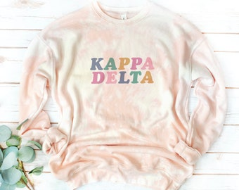 Sorority Tie Dye Bleach Dyed fleece, Quote, Multicolor letters, Rainbow, Retro, Vintage, Hand-dyed, Custom shirt, acid wash,