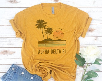Sorority shirts, Beach, Surf, Retro, Vintage, Kappa Delta, Phi Sigma Sigma, Alpha Xi Delta, Recruitment, big little reveal, Alpha Phi