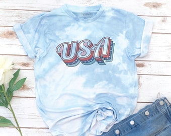 America Shirt, 4th of July, Memorial day, USA T-shirt, Women's T-Shirt, Vintage, Red White Blue Shirt, Gift for Mom, Gift for Woman, Tie Dye