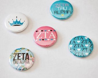 "Zeta Tau Alpha 1"" Buttons"