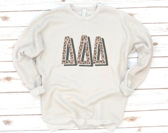 Sorority Sweatshirt, Leopard print, Vintage, Sorority gift, Sorority shirts, Big Little reveal, Delta Zeta, Alpha Gamma Delta, Fleece