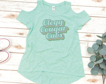 GIRLS Clegg Shirt, Cold Shoulder Tee, Cubs angle