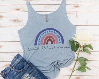 Rainbow USA tank, 4th of July, Fourth of July, Memorial day, America Tank, Women's Tank, Vintage, Red White Blue Shirt, Gift for Mom
