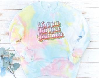 Tie Dye Sorority Sweatshirt, Vintage, Sorority gift, Big Little Reveal, Alpha Chi Omega, Kappa Kappa Gamma, Tie Dye Fleece