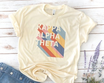 Retro 70s Stripe Shirt, Sorority, Diagonal Stripes, Big and Little Shirts, Vintage, Phi Sigma Sigma, Kappa Alpha Theta, Alpha Phi, Reveal