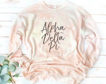 Sorority Tie Dye Sweatshirt, Bleach Dyed fleece, Script font, Retro, Vintage, Hand-dyed, acid wash,Theta, Sigma Alpha Iota, Pi Beta Phi