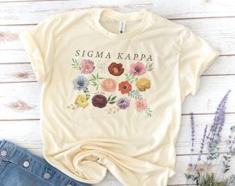 Sorority Shirt, Flowers, Retro, Vintage, Big Little Shirts, Sigma Kappa, Gamma Sigma Sigma, Alpha Delta Pi, Alpha Xi Delta, Sigma Kappa