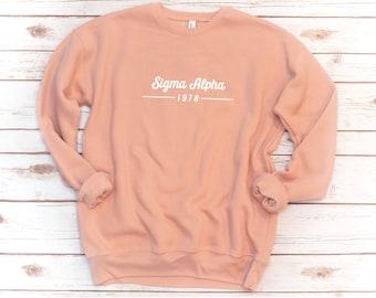 Sorority Sweatshirt, Sorority Year, Unisex Crew Fleece, Sorority shirts, Alpha Xi Delta, Sigma Alpha,  Delta Phi Epsilon, Kappa Delta