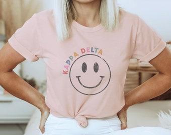 Happy Face Sorority Shirt, Smile, Smiley Face, Vintage, Teacher, Kappa Delta Shirt, Alpha Chi Omega, Alpha Phi, Big Little, Zeta Tau Alpha