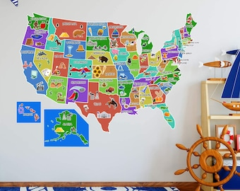 """American Girl 18/"""" Doll WORLD MAP 17/"""" x 11/"""" Poster in Color w// Star Stickers NEW"""
