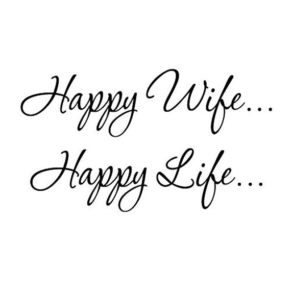 VWAQ Happy Wife... Happy Life... Family Wall Decal Quotes Bedroom Bathroom  Wall Art VWAQ-1700