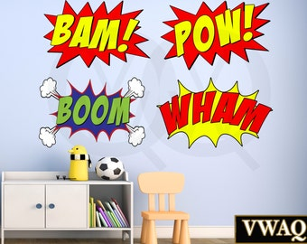 Comic Book Pack Of 4 Wall Decal Sound Effects Comic Book Bam Pow Boom Wham Superhero Wham Vinyl Wall Art Peel And Stick Sticker VWAQ-CB5