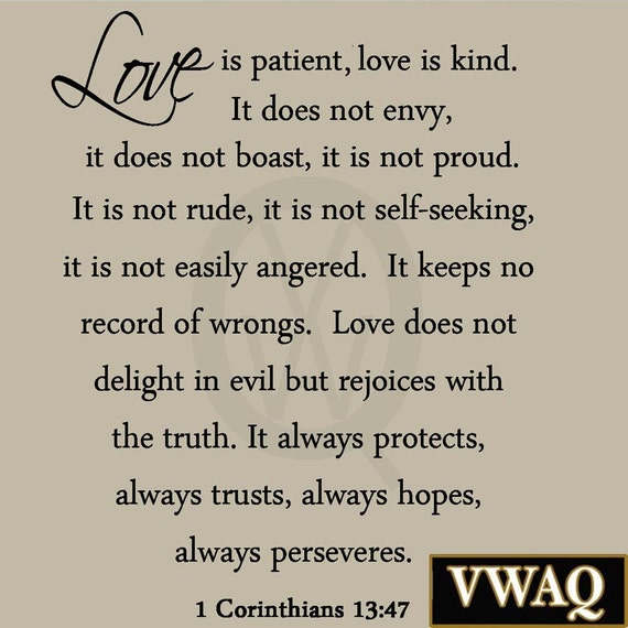 Love Is Patient Love Is Kind Wall Decal 1 Corinthians 13