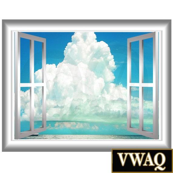 nw76 murale nuages 3d vinyl sticker fen tre cadre nimbus. Black Bedroom Furniture Sets. Home Design Ideas