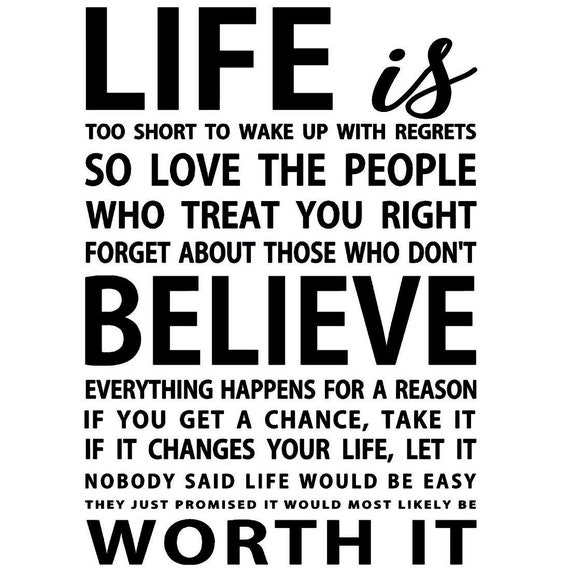Life Is Too Short To Wake Up With Regrets Vinyl Wall Decal Etsy