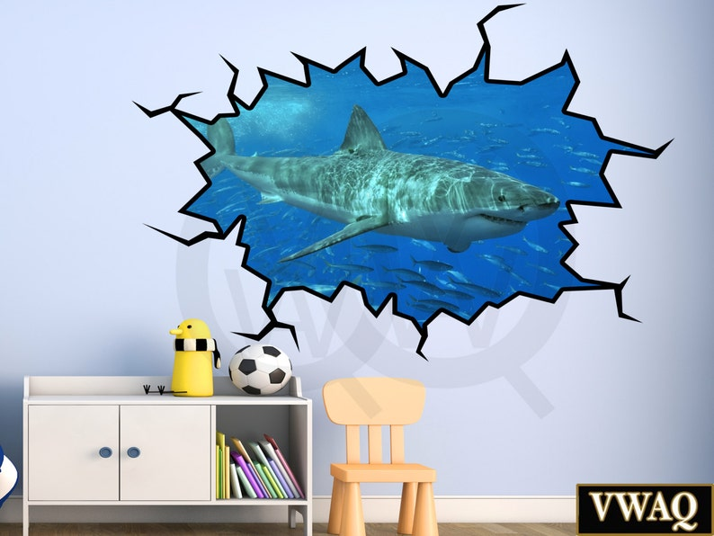 shark wall decals 3d wall decal great white shark wall sticker | etsy
