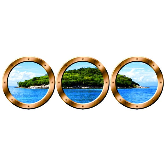 Wall Art Porthole Stickers Nature Window Clings Cruise Ship Etsy